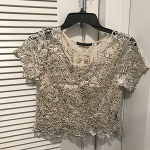 Ivory white floral top